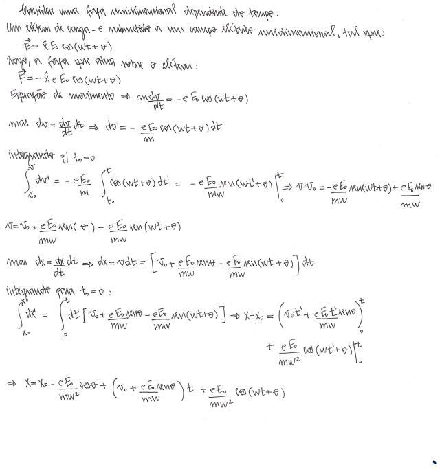 força dependente tempo campo eletrico